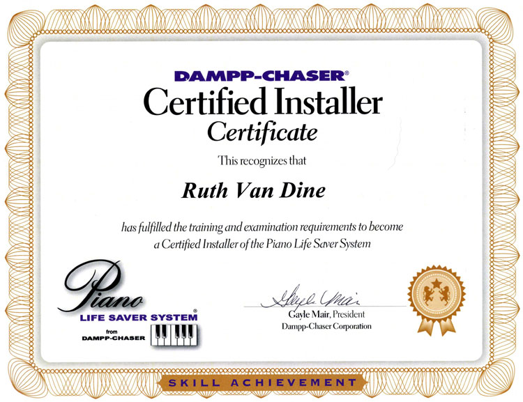 Ruth\'s Humidity Control Systems Certificate